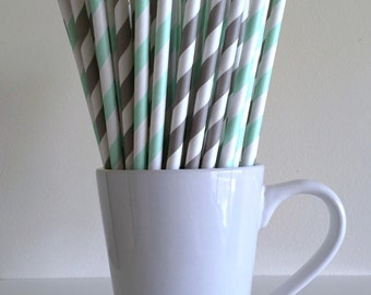 Mint and Gray Paper Straws Mint Green and Grey Striped Party Supplies Party Decor Bar Cart Cake Pop Sticks Mason Jar Straws Graduation