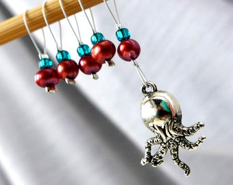 SALE - Octopus's Garden - Five Snag Free Knitting Stitch Markers - Fits Up To 5.5mm (9.5 US) - Last Sets