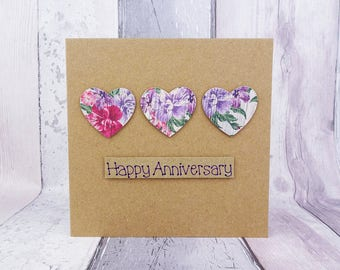 Floral hearts anniversary card, Handmade card, Personalised floral card, Vintage shabby chic style hearts, Card for couple, wife, girlfriend