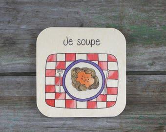 """Pictogramme """"Je soupe"""", en bois - Routine quotidienne - 3 à 5 ans"""
