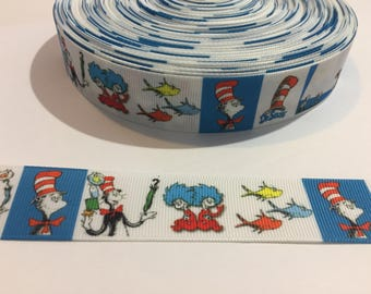 "3 Yards of 1"" Ribbon - White and Turquoise Dr Seuss Cat in the Hat"