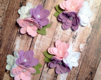 Wool Felt Mum Trios - Springtime Collection - 4 Trios with Leaves - Fabric Flowers