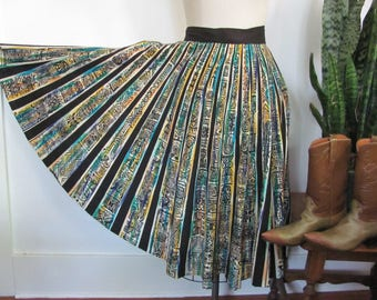 Vintage 1950's Mexican Circle Skirt, Radial Stripes in Black, Hand Painted Blue, Green, Teal backbround, 50's Cotton Skirt, Multi-sized M L
