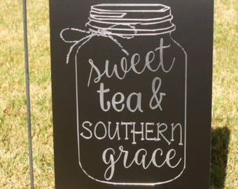 Sweet tea and southern grace Personalized Engraved Garden Flag/Sign