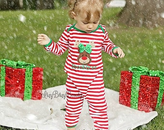 Girls Reindeer Christmas Pajamas - Red and White Stripe Green Trim - Reindeer Applique With Bow - Personalized Pajama - Long or Short Sleeve