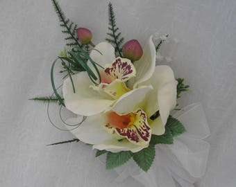 Artificial Wedding Flowers, Ladies Pin on Corsage, Buttonhole, Butonniere, with Cream Orchids, Fern, Beargrass