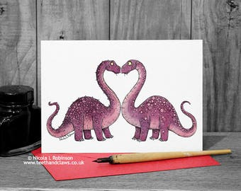 Dinosaur Wedding Card, Dinosaur Love Card, Dinosaur Engagement, Congratulations, Dinosaur card, Scientist, Alternative Wedding, Anniversary