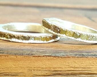 rough diamond cube ring-rough diamond ring-rough diamond cubes band-stacking rough diamond band-diamond band