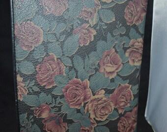 Floral portfolio / black / pink / women's portfolio / black portfolio / pad / calculator / meetings / notes / business portfolio / leather