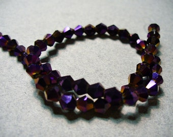 Crystal Beads Faceted Glass Bicone Purple Metallic 4MM