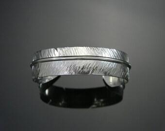 Feather Cuff Bracelet, Feather Bracelet, Sterling Silver Cuff, Silver Bracelet, Feather Jewelry, Silver Feather, Heavy Silver Bracelet