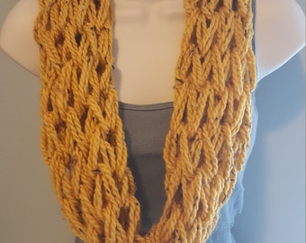 Yellow Speckled Arm Knit Infinity Scarf