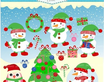 ON SALE christmas clip art - snowman Digital clipart, christmas snowman clip art