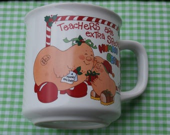 Christmas Human Bean Mug Teachers are Extra Special Vintage 1980s Era Human Beans Made in Japan