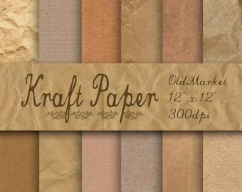 Kraft Digital Paper - Kraft Paper - Kraft Paper Textures -  12 Designs - 12in x 12in - Commercial Use -  INSTANT DOWNLOAD