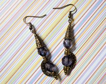 Purple and Brass Ethnic Boho Earrings (3648)