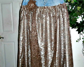 Vintage French lace jean skirt exquisite taupe bohémienne bohemian fairy  ballroom Renaissance Denim Couture Made to Order