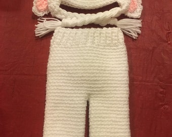 Crochet Bunny Outfit Hat With Ears and Pant with Bunny Tail