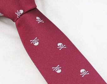 Mens Skull Necktie,Skulls Tie,Mens Necktie,Red Skull Tie,Mens Grooming,Personalized Wedding Tie,Tie for Party,Tie for wedding,Mens Gifts