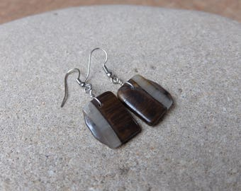Gem stone earrings Tigers Eye, Hematite and Quartz - eco friendly - handmade in Australia by NaturesArtMelbourne - brown grey jewelry
