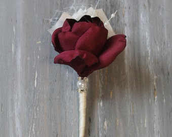 Burgundy Wedding Boutonniere Grooms Boutonniere Groomsmen Boutonniere Mens Wedding Boutonniere Burgundy Boutonniere Wedding Accessories