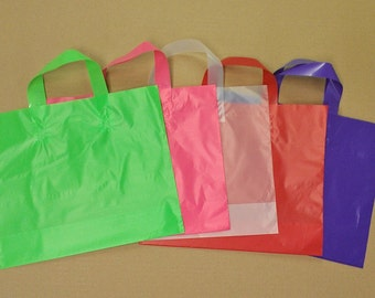12x10x4 Frosted Plastic Loop-handle Shopping Party Gift Tote Bag Assorted Colors/Quantities