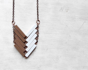 Wood Geometric Necklace // COUNTRYSIDE // Minimal Jewel // White // Beige // Hand-Painted Necklace / Modern Necklace / Chevron / Shabby chic