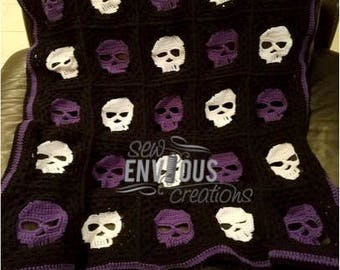Crocheted Skull Blanket **Made to Order**