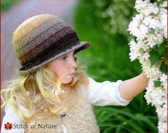 Crochet PATTERN - The Alexandria Brimmed Hat Pattern (Toddler to Adult sizes - Girls, Boys) - id: 16020