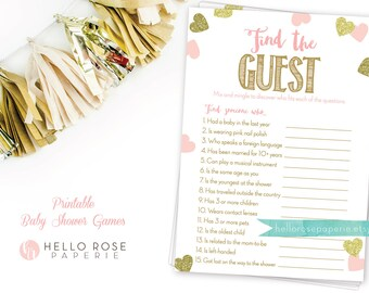 Pink and Gold Baby Shower Game . Find the Guest . Icebreaker Baby Shower Game . Printable Instant Download . Pink Gold Baby Shower Games