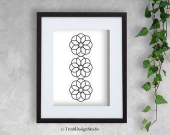 Adjacent Trio - Wall Art Decor Printable