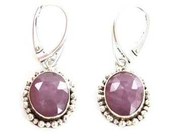 Sapphire Sterling Silver Earrings Faceted Pink