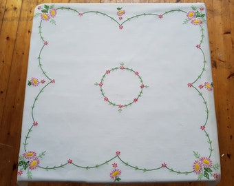 vintage tablecloth, pink floral embroidered tablecloth, vintage floral fabric, embroidered fabric, vintage dining, kitsch tablecloth