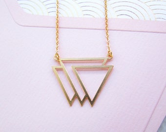 Gold Triangle Necklace - Modern Geometric Jewellery, Gold Necklace, Geometric Necklace, Minimalist Jewellery, Trending Now, Laser Cut