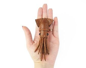 Leather handmade squid brooch