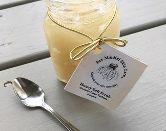 Honey Salt Scrub, Coconut/Lime Verbena, All Natural Honey Salt Scrub, Bee Products, Save the Bees