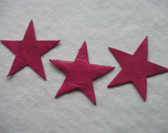 set of 3 small stars #15 leather