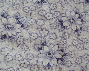 Vintage French Fabric Blue Clematis White Flowers Suitable for Patchwork Quilting Lavender Bags Dolls Clothes Feedsack Pillow