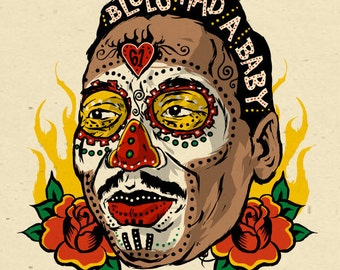 Muddy Waters - sugar skull folk art poster - 12x18 signed by Grego