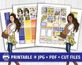 LEMON GARDEN Printable Planner Stickers/for use with Erin Condren/Weekly Kit/Cutfiles/Lemonade Cricut April Spring Summer April Gold Blue