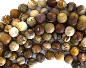 """10mm matte petrified wood agate round beads 15"""" strand 39127"""