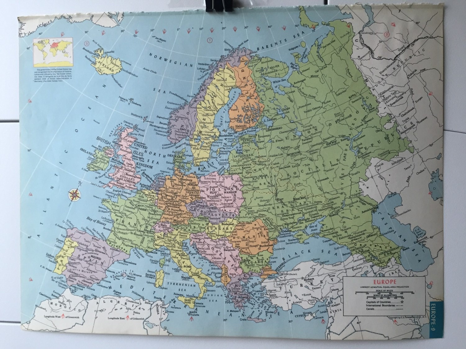 Vintage 1965 hammonds world atlas map page europe map on one side 500 gumiabroncs Images
