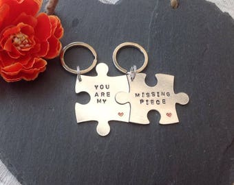 Missing piece Hand stamped interlocking jigsaw puzzle piece keyring set for Valentine's anniversary birthday gift personalised his and hers