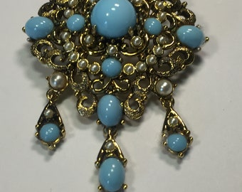 Vintage Hollycraft faux turquoise and Pearl Brooch