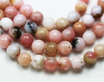 "Pink Opal , 6mm Round Gemstone Beads ,One Full strand, 16""-GEM1515"