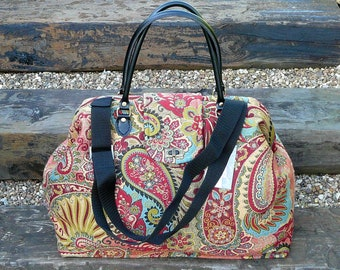 Carpet Bag, Mary Poppins Bag, Paisley Bag, Weekender Bag, Large Overnight Bag, Travel Bag, Hand Luggage, Cabin Luggage