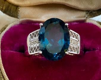 Estate London Blue Topaz Ring Diamond Solitaire Ring 10K Gold Blue Topaz Diamond Wedding Anniversary Eternity Engagement Ring Vintage