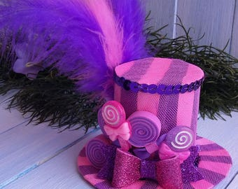 Mini Top Hat Lollipop Mini Top Hat Headband Mad Hatter Hat Alice in Wonderland Pink Candy Top Hat Fascinator Tea Party Hat Purple Mini Hat