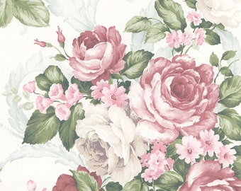 Large Pink And White Cabbage Roses Garden Floral Wallpaper