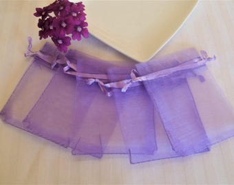 5 bags, pouches, organza, purple gift pouches